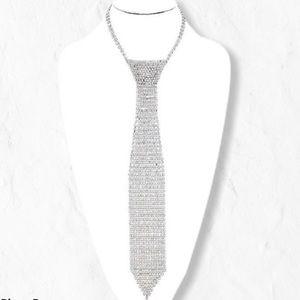 Silver-tone clear rhinestone tie necklace
